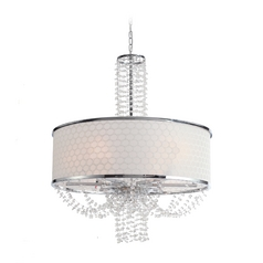 Crystal Drum Pendant Light with White Shade in Chrome Finish
