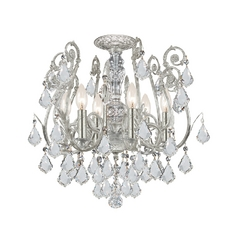 Crystal Semi-Flushmount Light in Olde Silver Finish