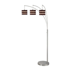 Arc Floor Lamp with Three Lights and Wood Shades