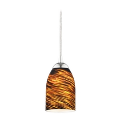 Design Classics Lighting Modern Mini-Pendant Light with Brown Art Glass 582-26 GL1023D
