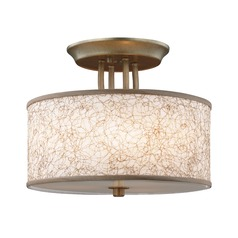 Feiss Lighting Parchment Park Burnished Silver Semi-Flushmount Light