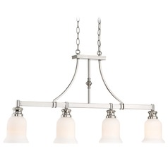 Minka Audrey's Point Polished Nickel Island Light with Bell Shade