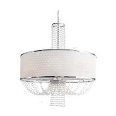 Modern Drum Pendant Light with White Shade in Chrome Finish