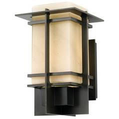 Outdoor Wall Light in Dark Smoke with Stone Glass - 11-Inches Tall