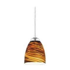 Design Classics Lighting Modern Mini-Pendant Light with Brown Art Glass 582-26 GL1023MB