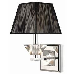 Contemporary Crystal Chrome Wall Sconce with Black String Shade