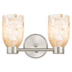 Aon Fuse Modern Satin Nickel Bathroom Light with Dome Glass