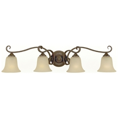 Bathroom Light with Beige / Cream Glass in Corinthian Bronze Finish