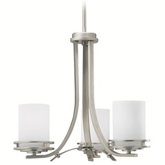 Kichler Mini-Chandelier with White Glass in Brushed Nickel Finish