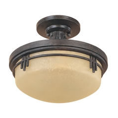 Semi-Flushmount Light with Beige / Cream Glass in Warm Mahogany Finish
