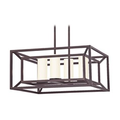 Square Caged Chandelier in Bronze