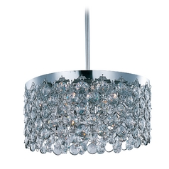 Modern Drum Pendant Light with Clear Glass in Polished Chrome Finish