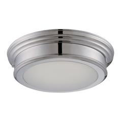 LED Flushmount Light with White Glass in Polished Nickel Finish