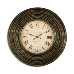 Clock in Distressed Burnished Brown Finish