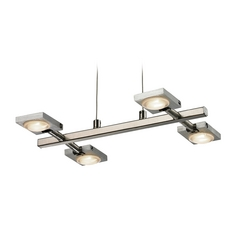 Modern LED Island Light in Brushed Nickel/brushed Aluminum Finish