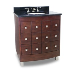 Bathroom Vanity in Warm Cherry Finish - Pre Assembled Top and Bowl