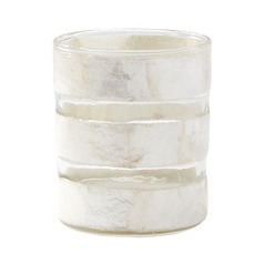 White Capiz Striped Votive