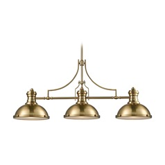 Elk Lighting Chadwick Satin Brass Island Light with Bowl / Dome Shade
