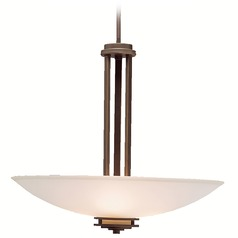 Kichler Pendant Light with Light Umber Glass in Olde Bronze Finish