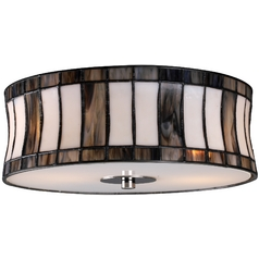 Flushmount Light with Tiffany Glass in Black Chrome Finish