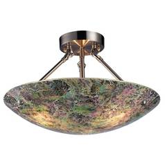 Modern Semi-Flushmount Light with Multi-Color Glass in Satin Nickel Finish