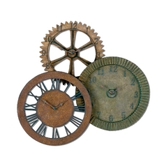 Uttermost Lighting Clock in Distressed Red Rust Finish 06731