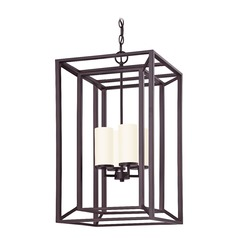 Rectangle Caged Chandelier in Bronze