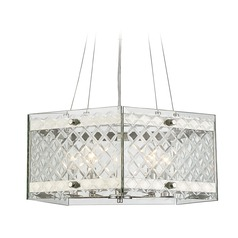 Savoy House Lighting Addison Polished Nickel Pendant Light with Square Shade