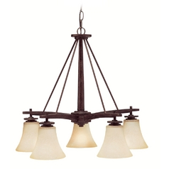 Kichler Lighting Chandelier with Beige / Cream Glass in Canyon Slate Finish 1923CST