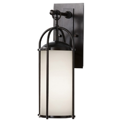 Modern Outdoor Wall Light with White Glass in Espresso Finish
