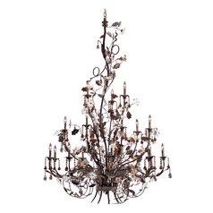 Crystal Chandelier in Deep Rust Finish