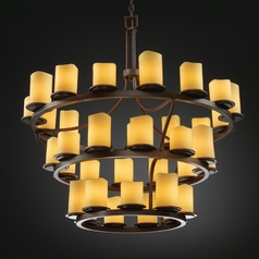 Justice Design Candlearia 3-Tier 36-Light Chandelier in Dark Bronze