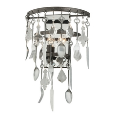 Troy Lighting Bistro Graphite with Antique Pewter Flatware Sconce