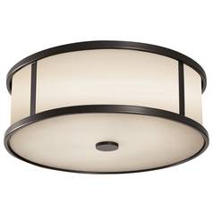 Modern Close To Ceiling Light with White Glass in Espresso Finish