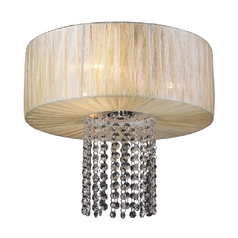 Modern Flushmount Light with Beige / Cream Shade in Beige Finish