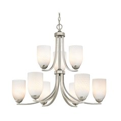 Modern Art Glass Chandelier with Two Tiers and Nine Lights