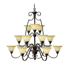 Chandelier with Alabaster Glass in Antique Bronze Finish