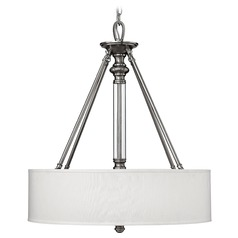 Drum Pendant Light with Beige / Cream Shade in Brushed Nickel Finish