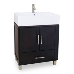 Modern Bathroom Vanity in Espresso Finish - Pre Assembled Top and Bowl