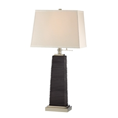 Modern Table Lamp in Satin Nickel/charcoal Finish
