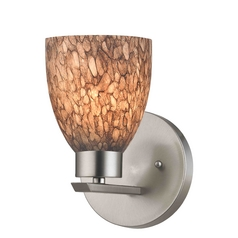 Modern Sconce Wall Light with Brown Glass in Satin Nickel Finish