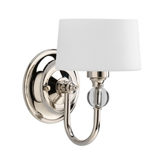 Progress Modern Polished Nickel Sconce Light with White Glass