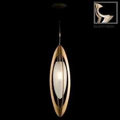 Fine Art Lamps Staccato Silver Leaf Mini-Pendant Light with Oblong Shade