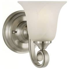 Sconce Wall Light with Alabaster Glass in Brushed Steel Finish