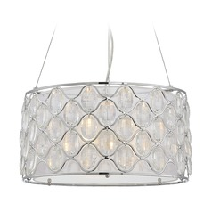Savoy House Lighting Opus Polished Chrome Pendant Light with Drum Shade