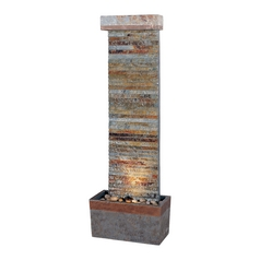 Fountain in Natural Slate Finish with Copper Accents Finish