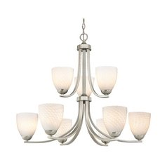 Modern 2-Tier 9-Light Chandelier with White Art Glass in Satin Nickel