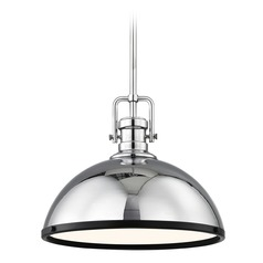Farmhouse Chrome Pendant Light with Black Accents 13.38-Inch Wide
