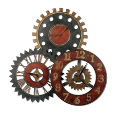 Clock in Red / Gold Finish