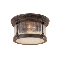 Close To Ceiling Light with Clear Glass in Chestnut Finish